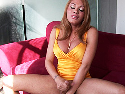 Erotic interview. Exciting TS Mia Isabella jerking off her enormous penish