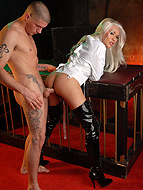 Domination have sexual intercourse. Restrained TS Mia Isabella getting her tight butt make love