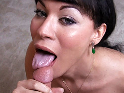 Facial pov Sophisticated tgirl Mia Isabella suc on a great dick.