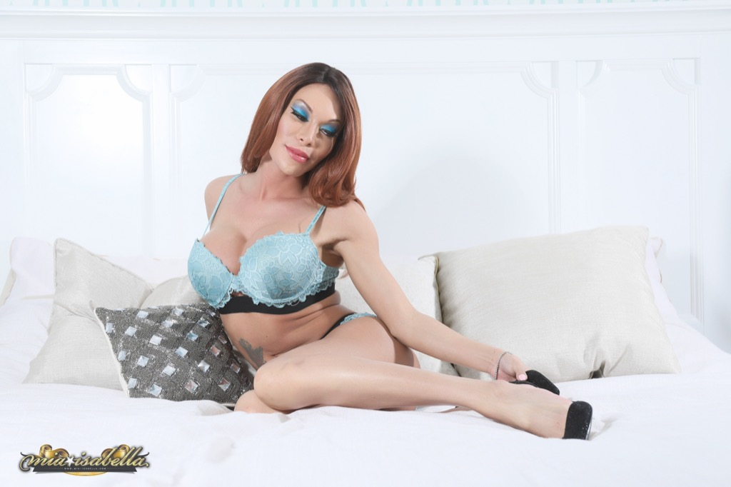 Mia in horny hot blue lingerie will have sex and blowjob your