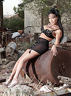 Country girl. Busty Mia Isabella posing at the country side